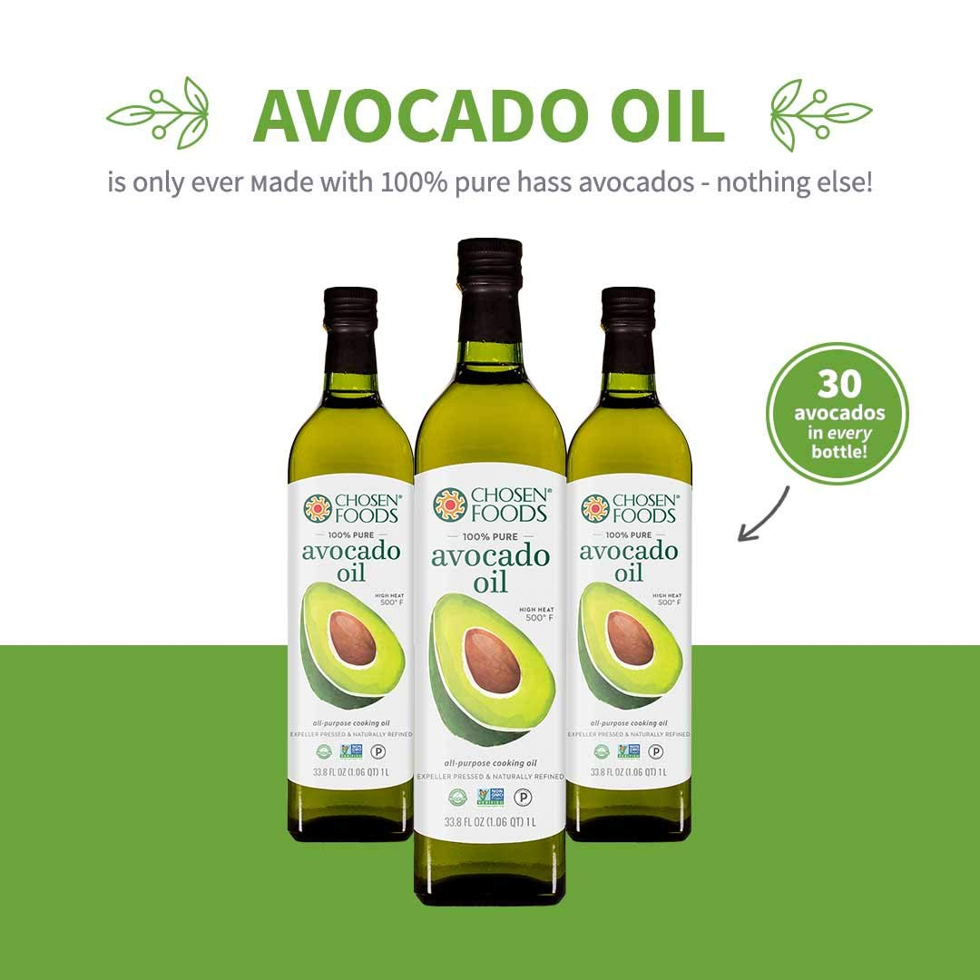 Chosen Foods 100% Pure Avocado Oil 1 L (3 Pack), Non-GMO, for High-Heat Cooking, Frying, Baking, Homemade Sauces, Dressings and Marinades by Chosen Foods (Image #4)