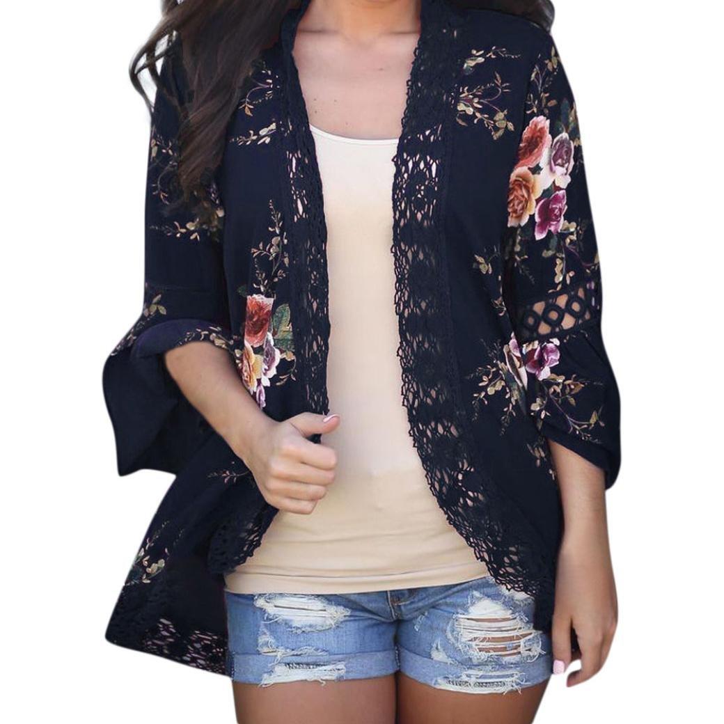 Amazon.com: Teresamoon Womens Floral Print Sheer Lace Loose Kimono Jacket Cardigan: Arts, Crafts & Sewing
