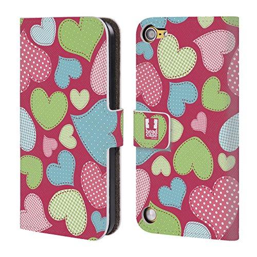 Head Case Designs Cucito Pattern A Cuore Cover a portafoglio in pelle per iPod Touch 5th Gen / 6th Gen