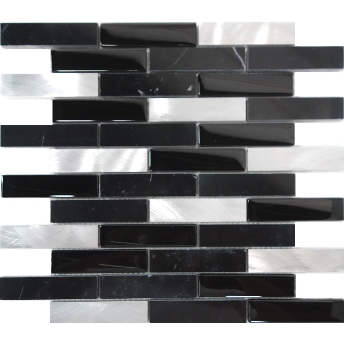 Modket TDH218MO Black Marquina Marble Stone Blended Metallic Aluminum and Glass Mosaic Tile Backsplash