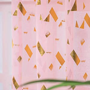 Kotile Pink Sheer Curtains for Bedroom - Metallic Gold Foil Flutter Confetti Curtains Rod Pocket Sheer Curtains 84 Inch Length Window Curtains for Girls Room, 52 x 84 Inches, 2 Panels, Gold Pink