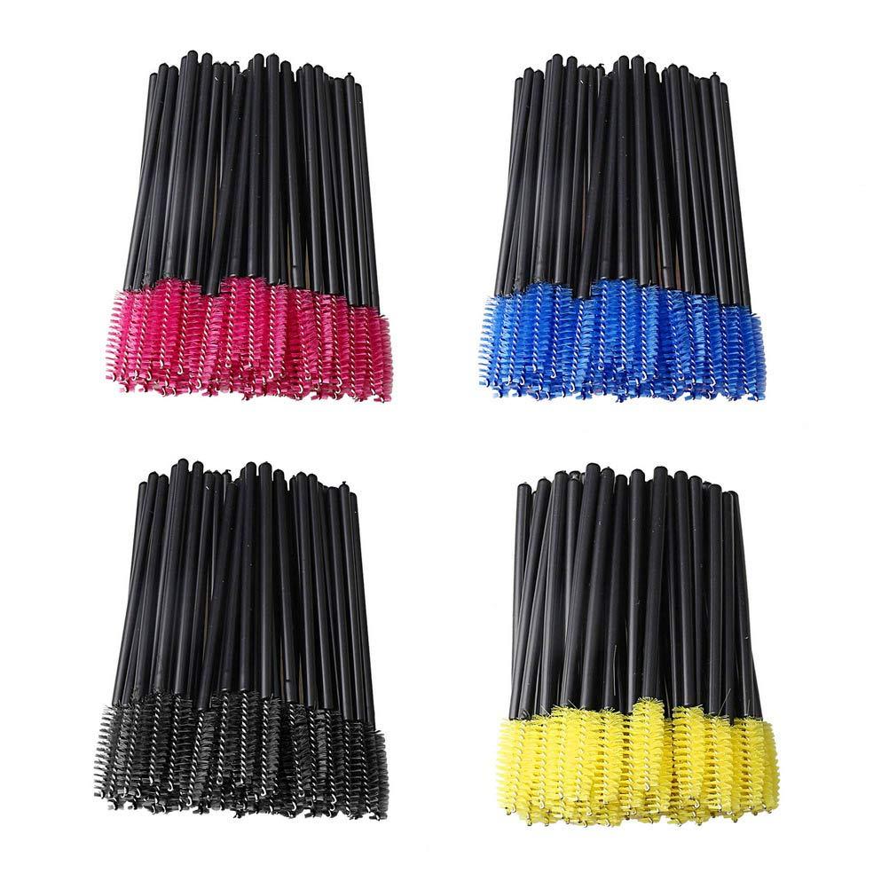 pengxiaomei 200 Pcs Eyelash Brushes, Lash Makeup Brushes Disposable Mascara Wands for Eyelash Extension (4 Colors)