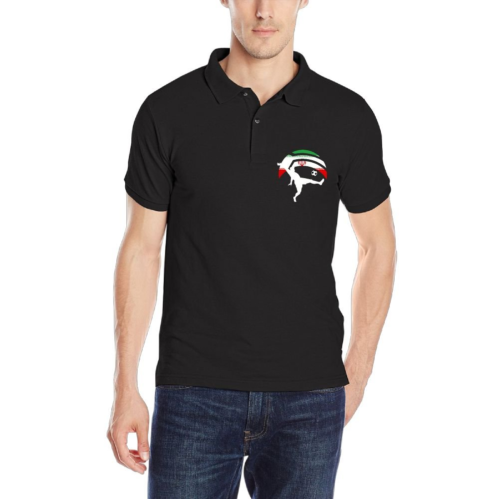 Soccer Player Kicking Ball Iran Flag-1 Mens Short Sleeve Polo Shirt Classic-Fit Blouse Sportswear