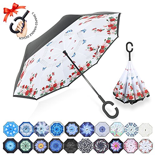 ZOMAKE Double Layer Inverted Umbrellas for Women, Reverse Folding Umbrella Windproof UV Protection Big Straight Umbrella for Car Rain Outdoor with C-Shaped Handle(Flowers & Butterflies) ()