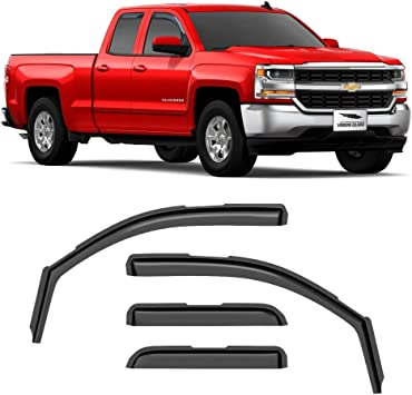 Voron Glass in-Channel Extra Durable Rain Guards for Trucks Chevrolet Window Deflectors 230092 4 Pieces Silverado 2014-2018 Double Cab Chevy Vent Window Visors