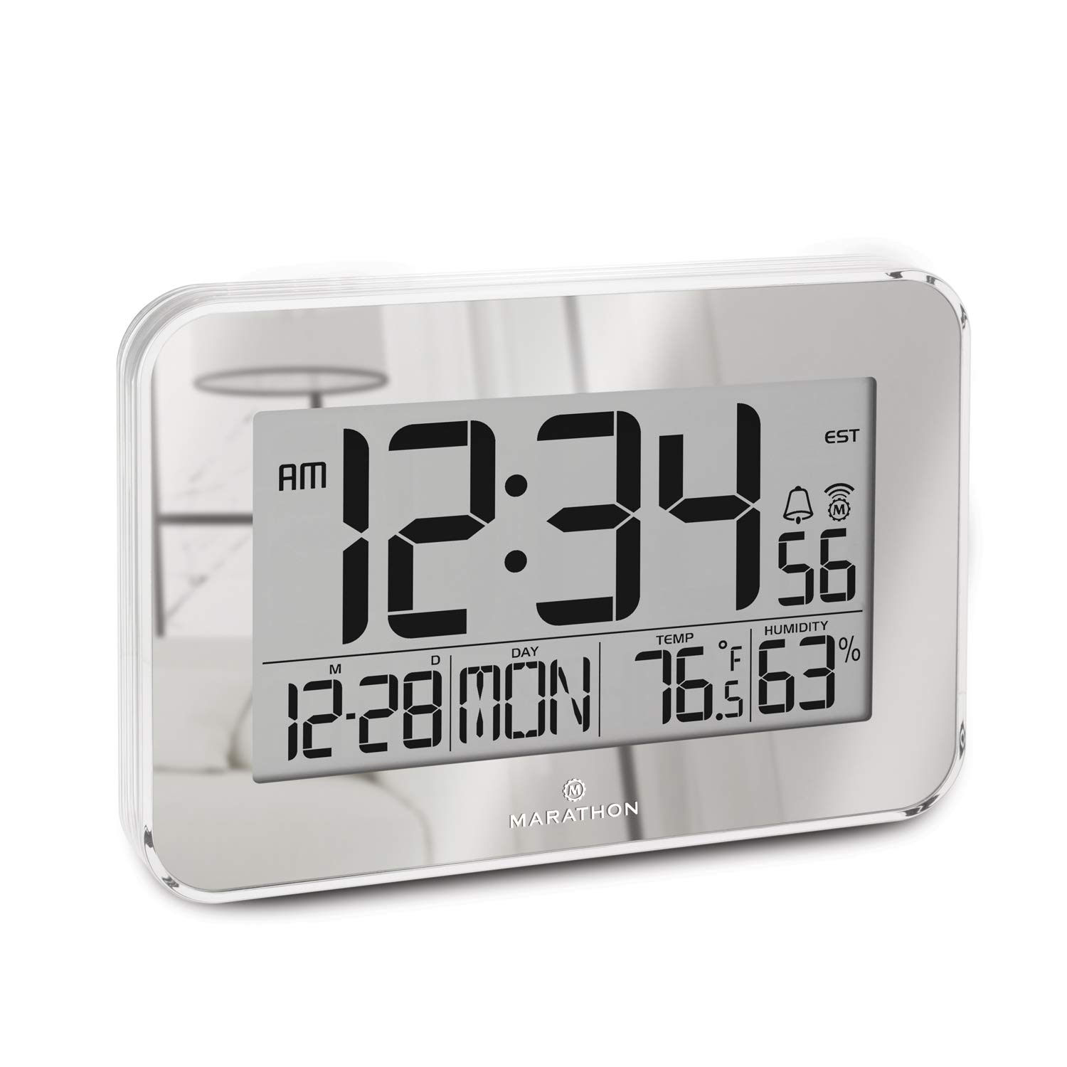 Marathon Atomic Wall Clock with Alarm, Snooze, Table Stand and Clear Bezel. Easy to Read Date, Temperature & Humidity.8 Time Zones. Batteries Included. Color–Mirrored. SKU-CL030060SV