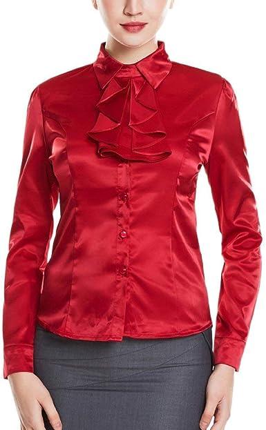 Camisa De Trabajo En Seda Sintética En Camisa De Blusa Vino Rojo Joven Camisa D: Amazon.es: Ropa y accesorios