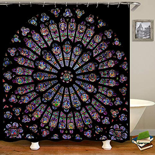 SARA NELL Paris December 19 The North Shower Curtain,Rose Window of Notre Dame Cathedral Bath Curtain with 12 Hooks, Vintage Waterproof Shower Curtain for Bathroom 60x72 Inch
