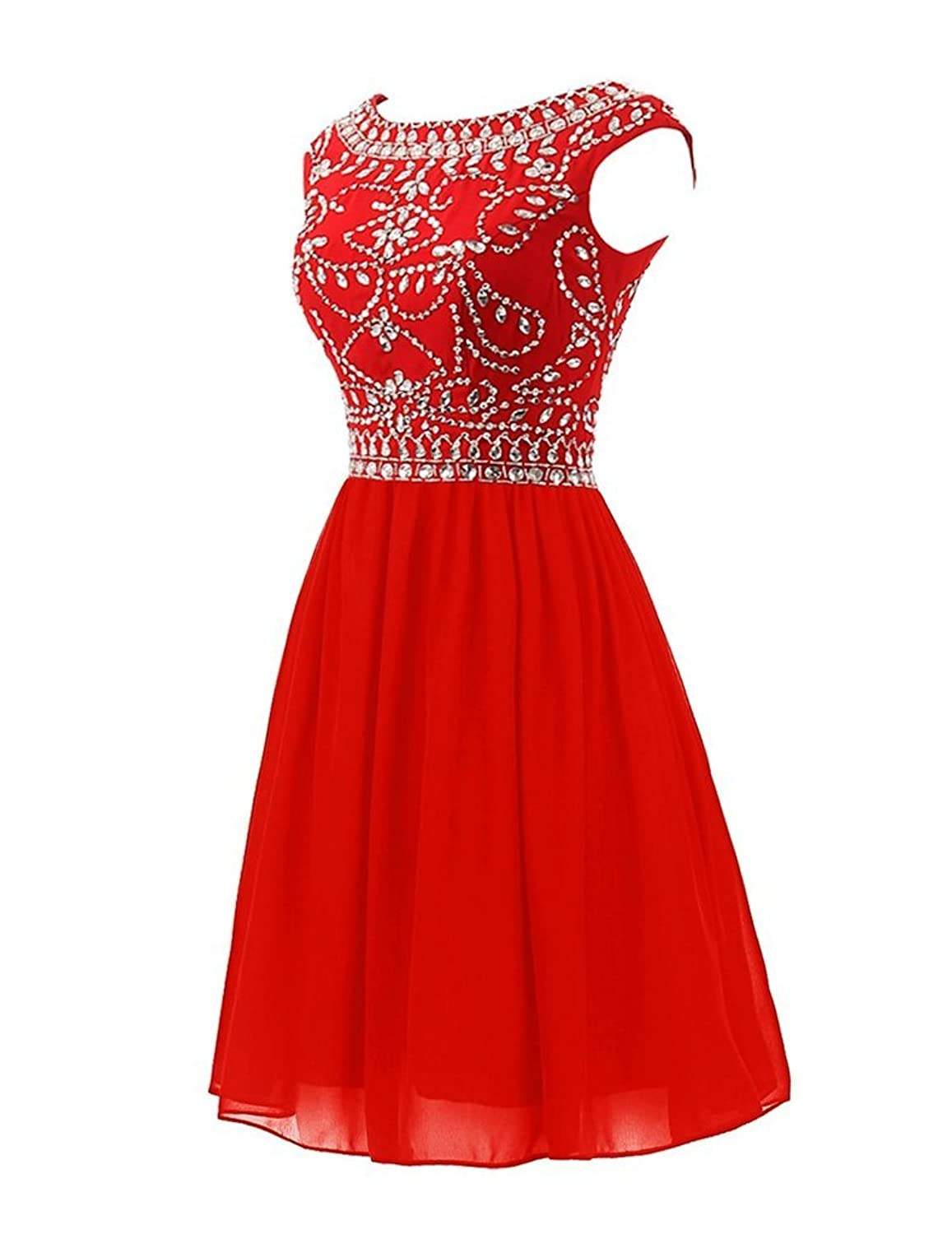 CLOCOLOR Women's Short Chiffon Beaded Rhinestones Cap Sleeve Cocktail Dresses Homecoming Dress