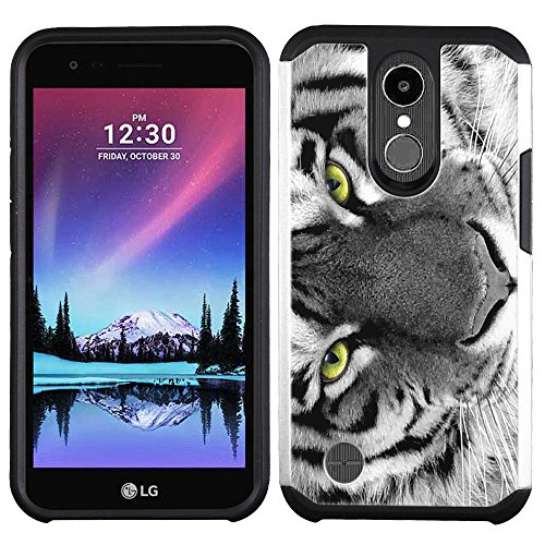 Case Silicone Lcd White (LG K20 Plus case - [White Tiger] (Silver) PaletteShield dual-layer hybrid rugged armor skin phone cover (fit LG K20 Plus / K20v))
