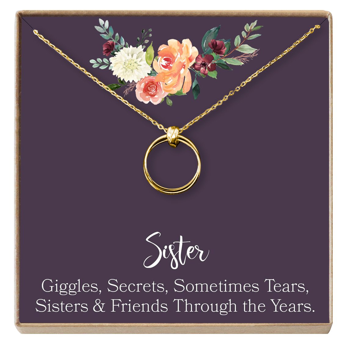 Amazon Sisters Necklace Sister Gift For Birthday Big Giggles Secrets 2 Linked Circles Gold Plated Brass