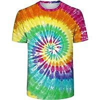 SIMYJOY Unisex färgglad batik vintage pigment randig t-shirt kortärmad skjorta för män och kvinnor