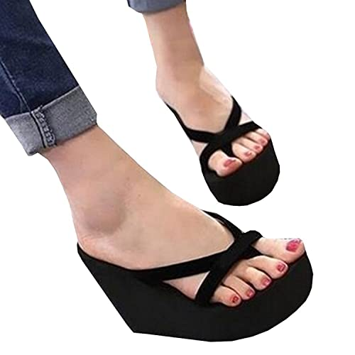 c3f5fa7f0 Meilidress Fashion Women Casual Summer Platform Shoes Wedges Flip Flops  Outdoor Slippers Black