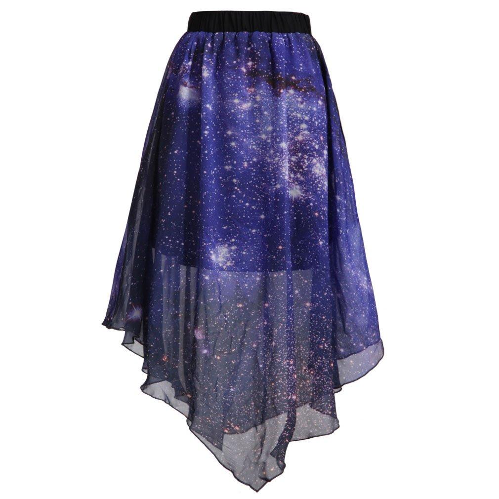 SAYM Women Pleated Chiffon Galaxy Cosmic Digital Printed Skirts SDS0070-12