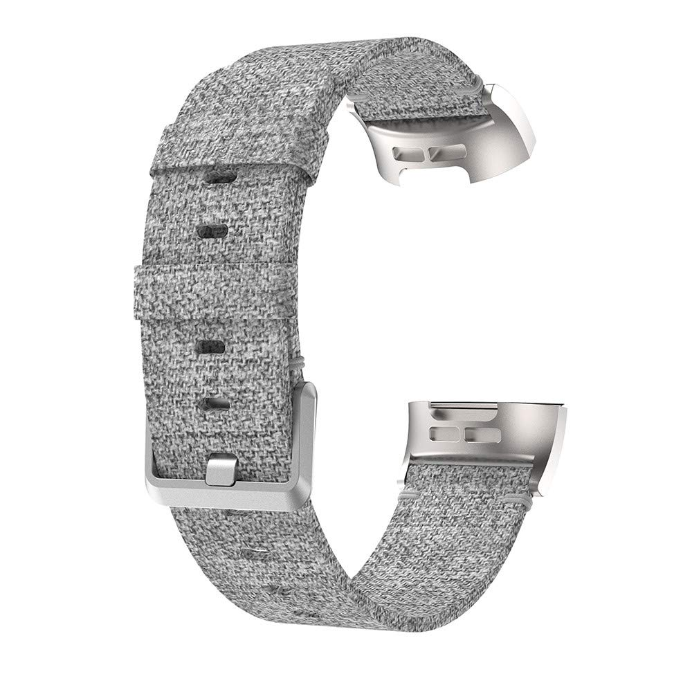 Fitbit Charge 3 Band,Lovewe Replacement Woven Canvas Fabric Watch Band Wrist Strap For Fitbit Charge 3 (Gray)