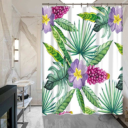Footalk Shower Curtain Set Maple Tree Fall Watercolor Floral Girls Bathroom House Decorations Waterproof Mildew Soap Resistant 100% Polyester Fabric 72 x 72 inches with 12 Hooks (tropical) (Watercolor Tropical)