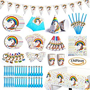 Unicorn Party Supplies Pack, Disposable Tableware Including Table-cloth, Banner, Hats, Cutlery, Straws, Plates, Napkins, Cups, Blowouts, Blow Horns, Eye Masks, Invitation Cards, Gift Bags Serve 12