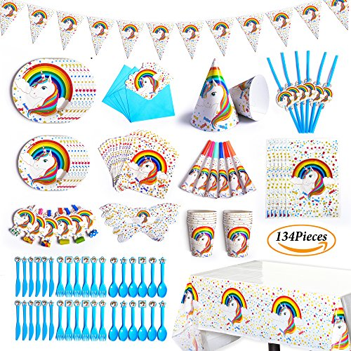 BELLA BAYS Unicorn Party Supplies Set with Disposable Tableware, Cake Toppers, Party Hanging Decoration Kit, Blowouts, Eye Masks, Invitation Cards &Gift Bags Kids Party Favors (white unicorn) (Eye Gift Bags)