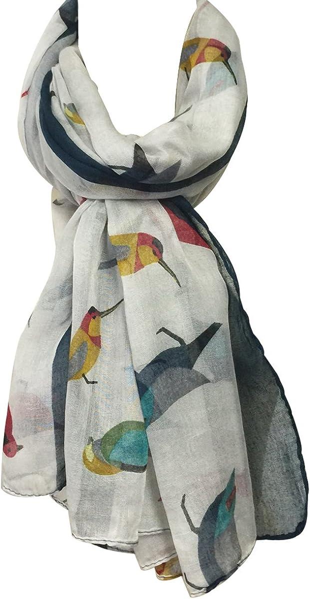 Wrapables Soft Viscose Bird Print Multi-Style Scarf Wrap Shawl Sarong Steel Grey