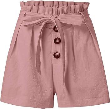 Riono Mujer Pantalones Cortos de Gasa con Cinturón, Pantalón Corto ...