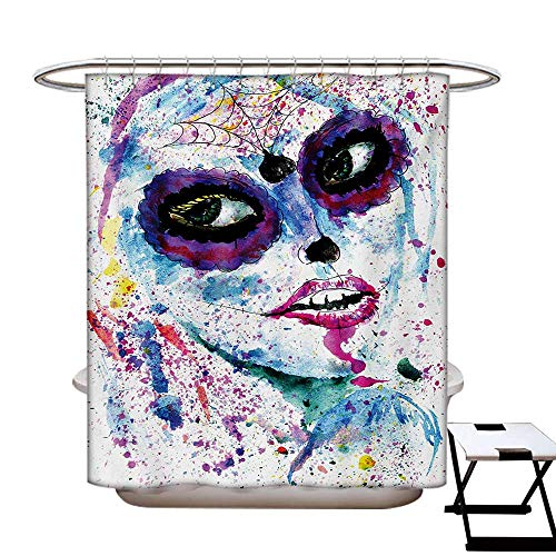 Girls Shower Curtains Waterproof Grunge Halloween Lady with Sugar Skull Make Up Creepy Dead Face Gothic Woman Artsy Fabric Bathroom Decor Set with Hooks W69 x L75 Blue -