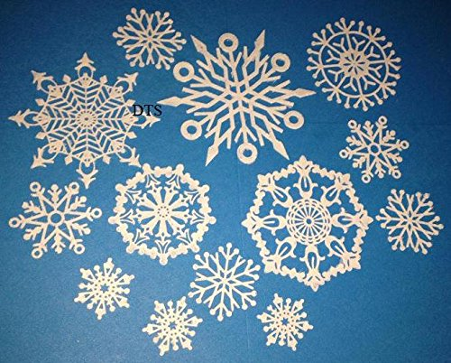 15/Set Vegan Pre-Made Edible Lace Frozen Icy Like Snowflakes for Winter Wedding, Christmas, or Winter Theme Decoration- Ready to Use Edible (Frozen Theme Decorations)