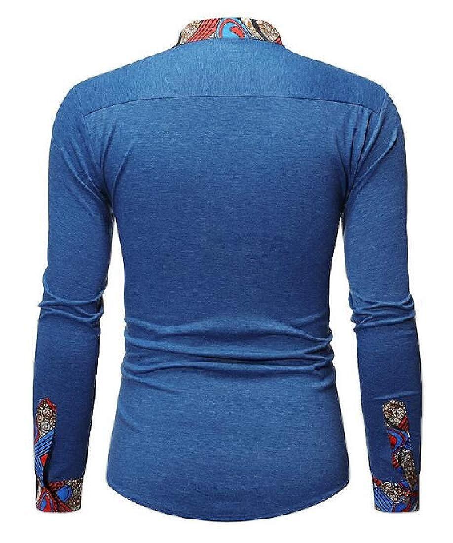 pipigo Men Casual Slim African Print Long Sleeve Button Up Dress Shirt