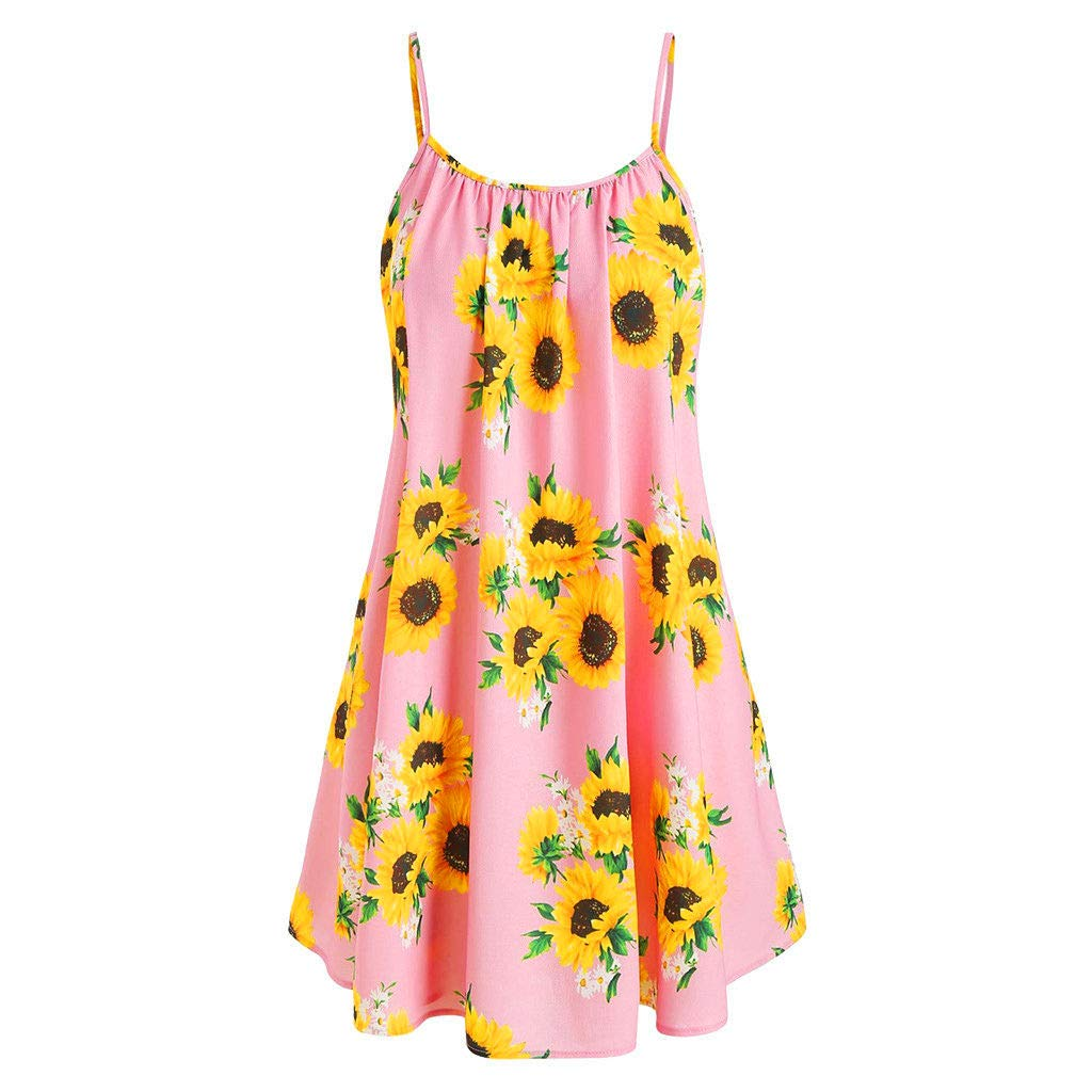 Mini Dresses Women Summer Floral Sunflower Print Camisole Casual Loose Sleeveless Draped A-Line Tank Dress Tunic Top (Pink, S)