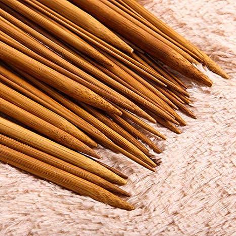 Crazywind 36 unidades Juego de agujas de tejer de bamb/ú carbonizado de punta /única 18 tama/ños 25 cm