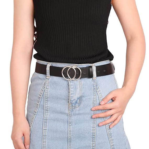 Tacobear Cinturones de Mujer Cintur/ón de Cuero con Hebilla de Doble Junta T/órica Cintur/ón Ajustable para Pantalones Dress Jeans