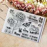 #10: Seaskyer Clear Stamps for Cards Making, Silicone Stamps Flower, Flower DIY Silicone Clear Stamp Cling Seal Scrapbook Embossing Album Decor Craft