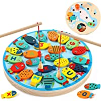 RILLATEK-AE Wooden Fishing Game Toy for Toddlers Fish Catching Counting Preschool Board Games Toys for 2-4 Year Old Girl…