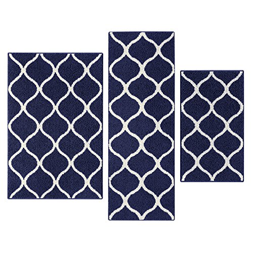 3 Piece Maples Rugs Kitchen Rug Set, Navy Blue/White Only $25.89