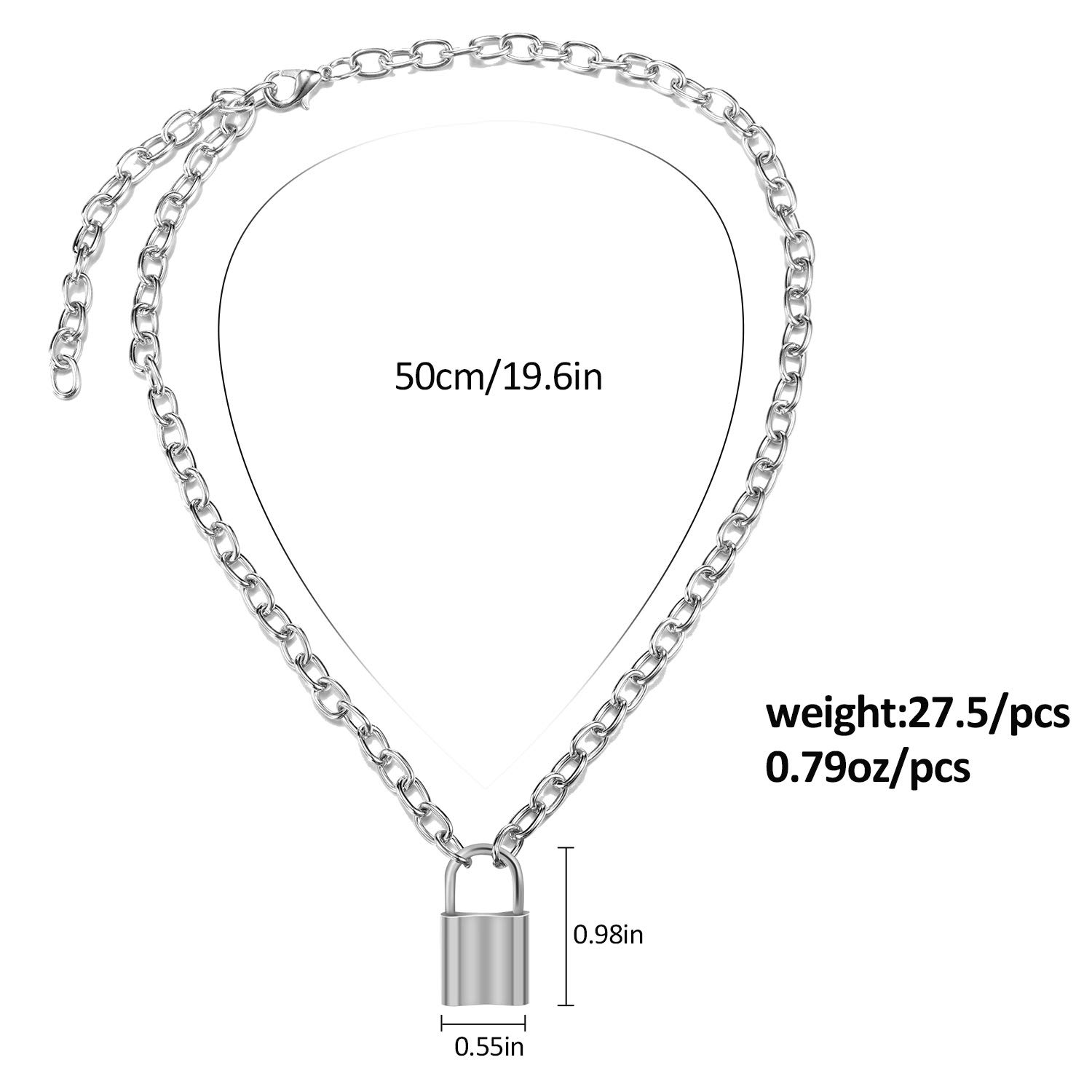 Yaomiao 2 Pack Y Lock Pendant Necklace Simple Chain Necklace Lock Chain Jewelry Long Multilayer Chain Women Girls Gift