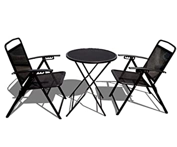 STRONG CAMEL Bistro Set Patio Set Table And Chairs Outdoor Wrought Iron  CAFE Set METAL