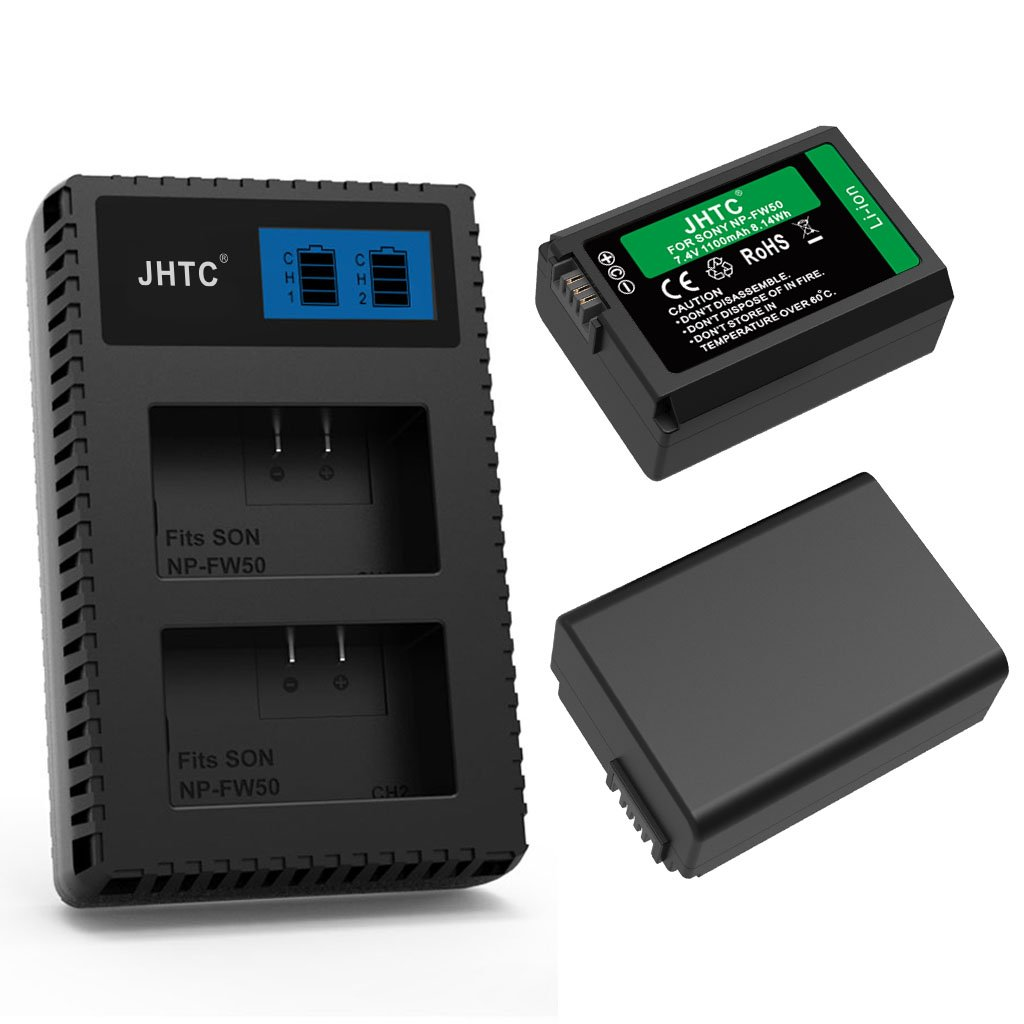 NP-FW50 LCD Display Battery charger with JHTC Replacement Battery (2-Pack) for Sony NP-FW50,Compatible With Sony Alpha a6500, a6300, a6000,a7 Series