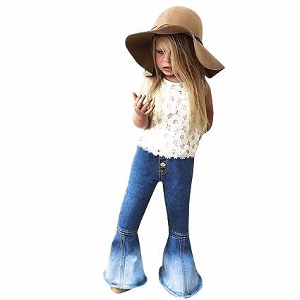Feixiang Ropa para niñas niños Pantalones Vaqueros de Moda Costuras de Campana Pantalones de niña Pantalones