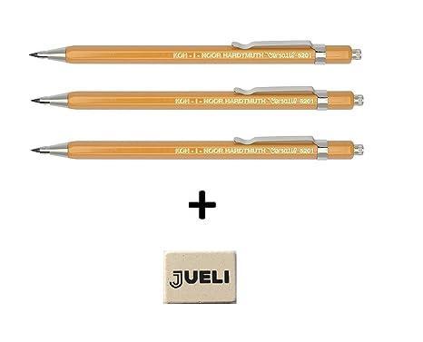 Set de 3 KOH-I-NOOR 5201 Metal embrague lápiz amarillo Versatil