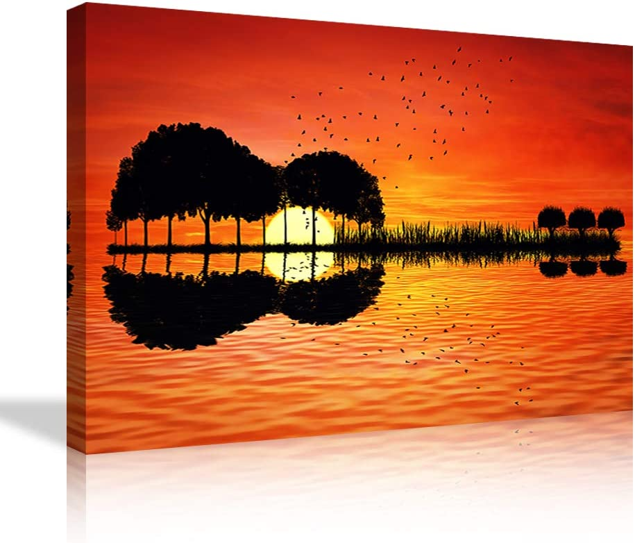 Music Wall Art Orange Abstract Guitar Trees Canvas Prints Full Moon Night Picture Painting Fashion Posters Modern Bedroom Living Room Wall Decor Framed Ready to Hang