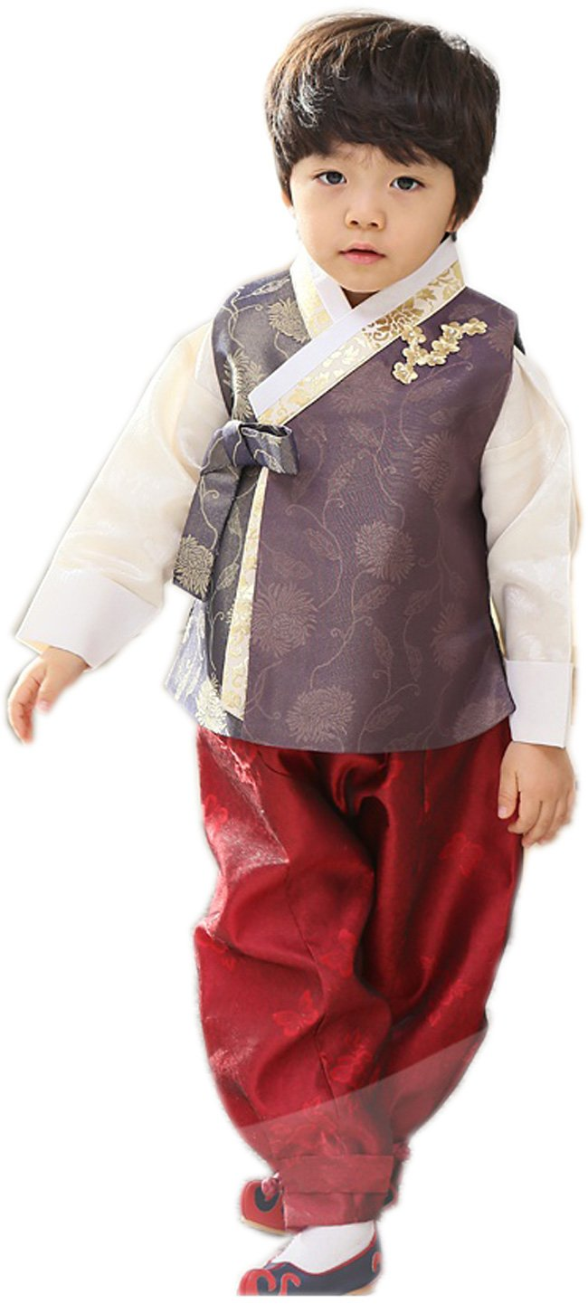 Korean Hanboks boys babys kids traditional costumes birthday party DOLBOK hb39 (7 ages)