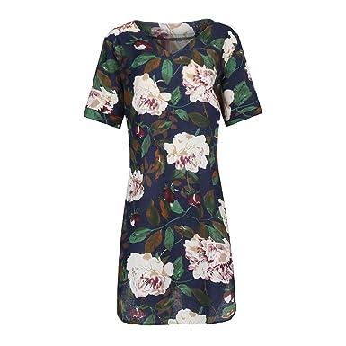Übergröße Damen Blumen Minikleid Sommer Strand Tunika Hemdkleid Longshirt Baggy
