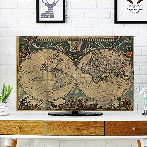L-QN TV dust Cover Map of Ancient World Ctinents Antiquity Stained Vintage Historic Aged Earth TV dust Cover W30 x H50 INCH/TV 52