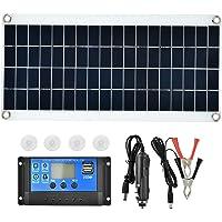 Panel solar de 15 vatios con controlador de carga, módulo solar de panel solar flexible Controlador de cargador de batería USB dual PWM para RV, automóvil, barco, cabina, tienda de campaña