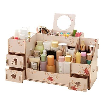 Creative Colorful Fashion extraíble DIY de madera cosméticos caja de almacenamiento de gran caja de joyería