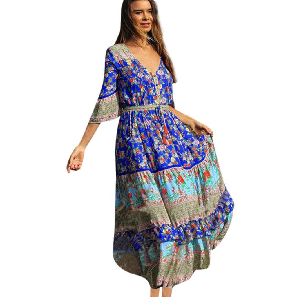 yiqianzhaobiao_Dress YQZB Women's Casual Plain Loose Swing Pocket Long Dress Short Sleeve Maxi Dresses