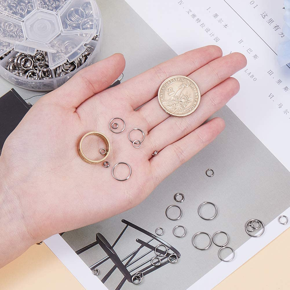 PandaHall Elite about 895 pcs 6 Sizes 304 Stainless Steel Split Rings 4//5//6//8//10//12mm Jewelry Connectors O Ring with 1 pcs Jump Ring Opener for Earring Bracelet Jewelry Making