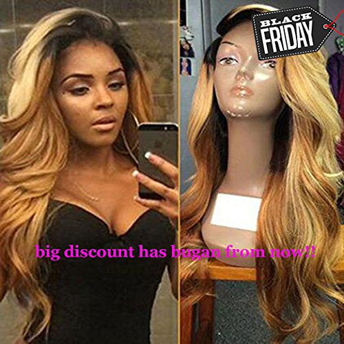 Lace Front Wig Glueless Full Lace Wigs Human Hair Ombre Wig Black Roots 1B 27 Body Wave 100% Real Indian Virgin Hair With Baby Hair (20 Inch Full Lace Wig)
