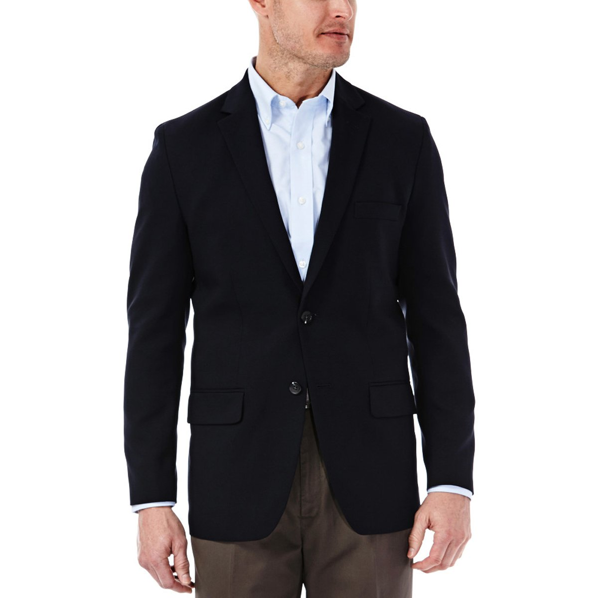 Haggar Clothing Men's Tailored Fit In Motion Blazer - 38 Short - Midnight