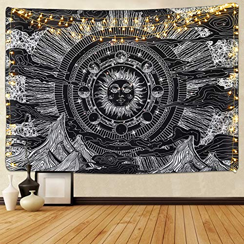 ng Sun Moon Star Tapestry Mountain Cloud Tapestry Black and White Eclipse Tapestry Moon Phase Tapestry for Room ()