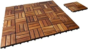 SeaTeak 60029 Interlocking Teak Floor Tiles, Oiled Finish; 10/Pack, Multi, One Size
